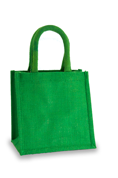 Jute Lunch Gift Bag in Mid Green