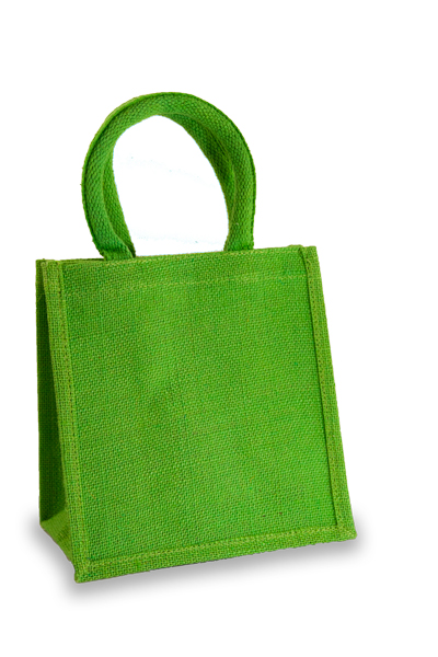 Jute Lunch Gift Bag in Lime Green