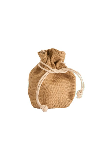Small Jute Drawstring Pouch in Natural