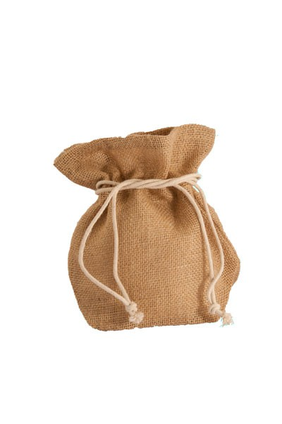 Medium Jute Drawstring Pouch in Natural