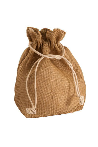 Large Jute Drawstring Pouch in Natural