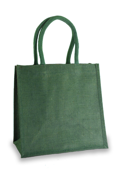 Medium Forest Green Jute Shopper