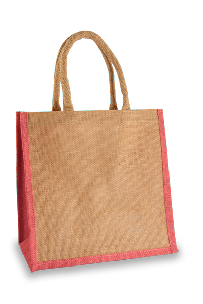 Medium Jute Shopper with Pink sides