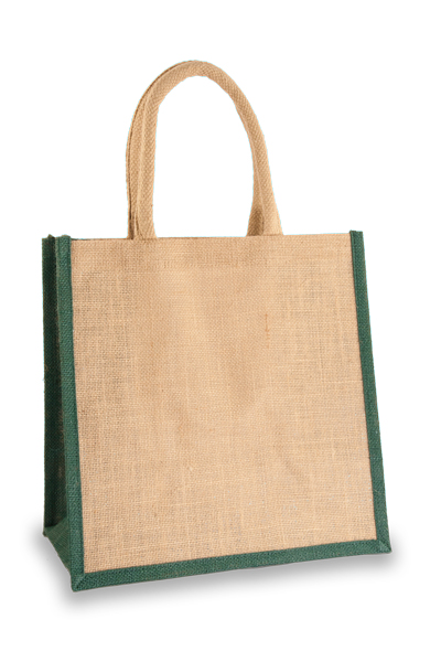 Medium Jute Bag with Forest Green sides