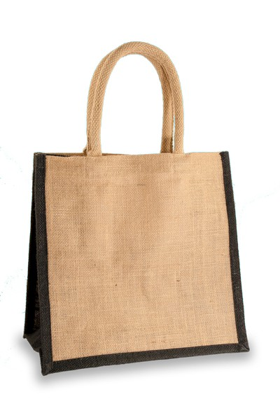 Medium Jute Shopper with Black sides