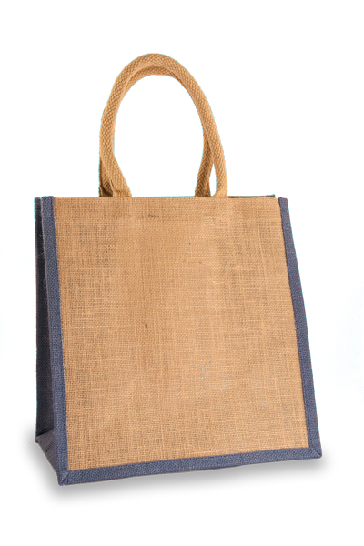 Medium Jute Shopper with Denim Blue sides