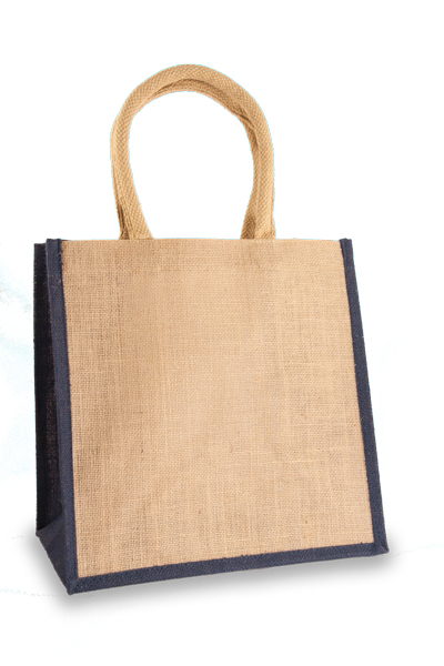 Medium Jute Shopper with Navy Blue sides
