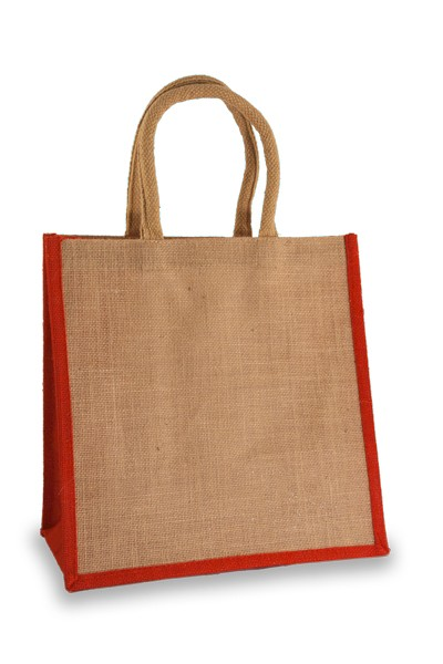 Medium Jute Shopper with Red sides