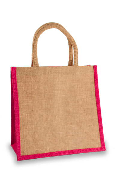 Medium Jute Shopper with Fuchsia sides