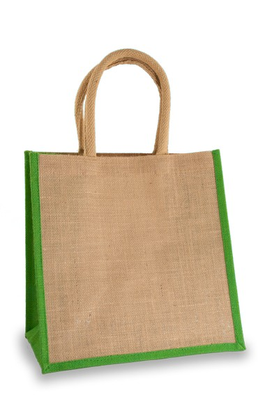 Medium Jute Shopper with Lime Green sides