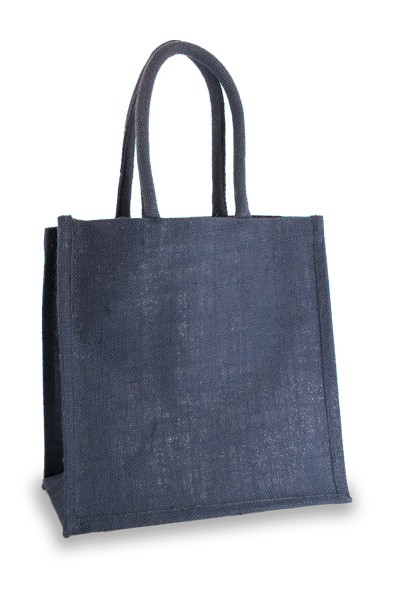Medium Navy Blue Jute Shopper