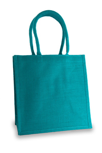Medium Turquoise Jute Shopper