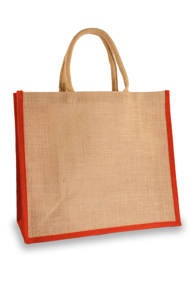 Large Red Jute Shopping Bag