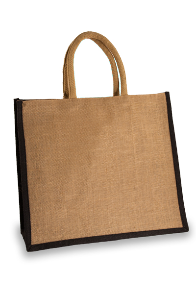 Large Jute Shopping Bag with Black Sides