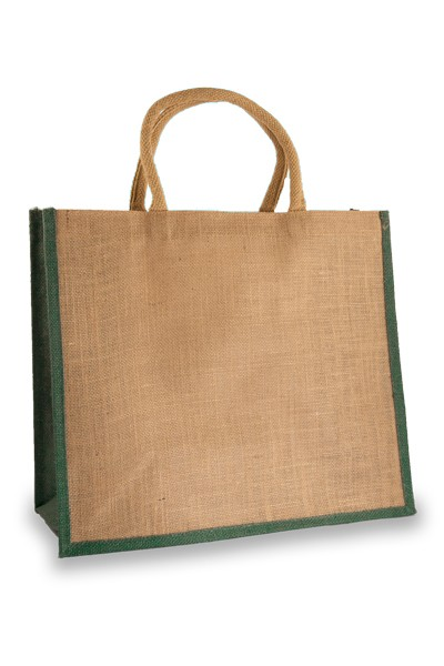 Large Jute Shopping Bag with Forest Green Sides