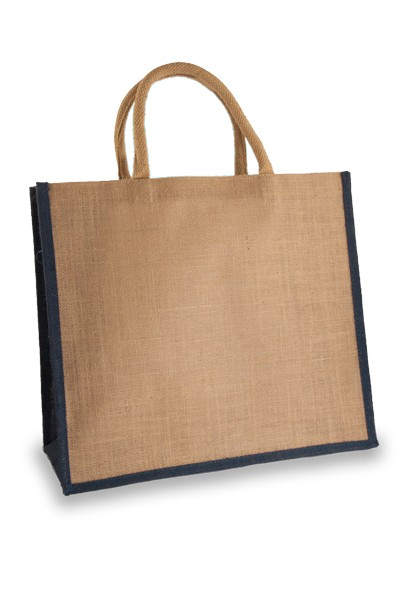 Large Jute Shopper with navy Blue sides
