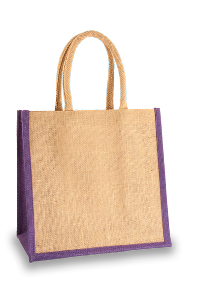 Medium Jute Shopper with Purple sides