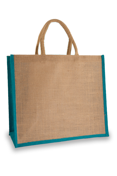 Large Jute Shopper with Turquoise Sides