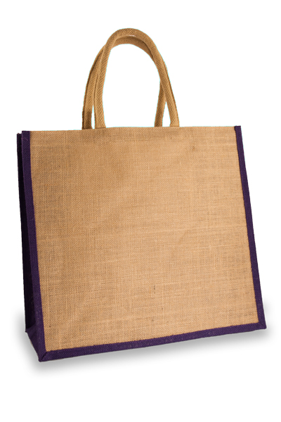 Large Jute Shopping Bag with Purple Sides