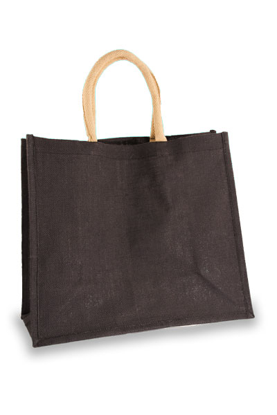 Large Black Jute Shopping Bag with Natural handles
